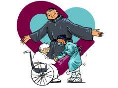 San Benito Menni, el corazón hospitalario y una gerocultora asistiendo a una persona mayor