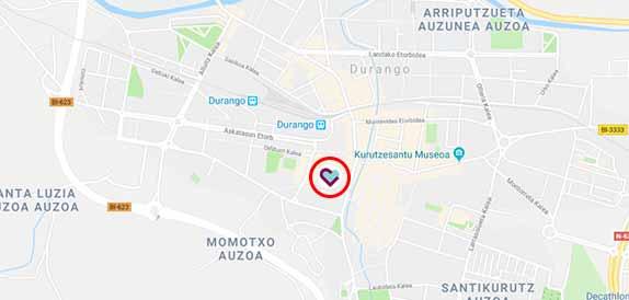 Mapa de accesos a la Residencia geriátrica Joxe Miel Barandiaran de Durango