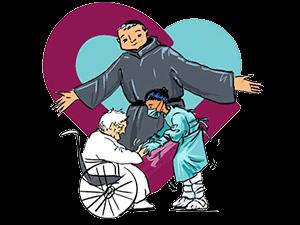 San Benito Menni, el corazón hospitalario, una gerocultora y una persona mayor