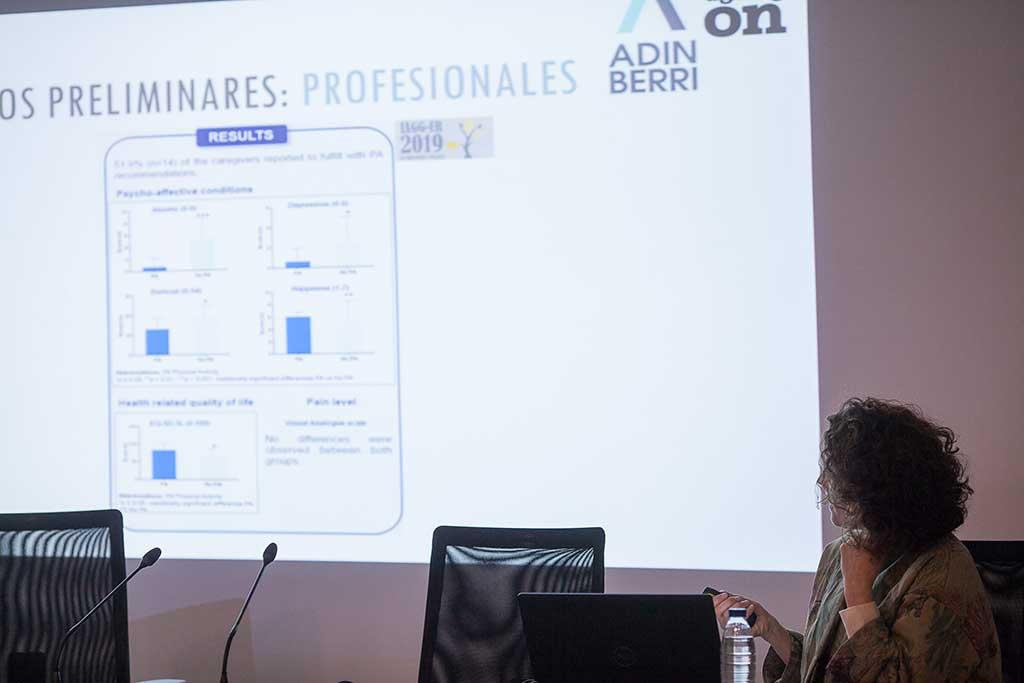 La doctora Kortajarena, durante la presentación del estudio de Ageing-On en Aita Menni