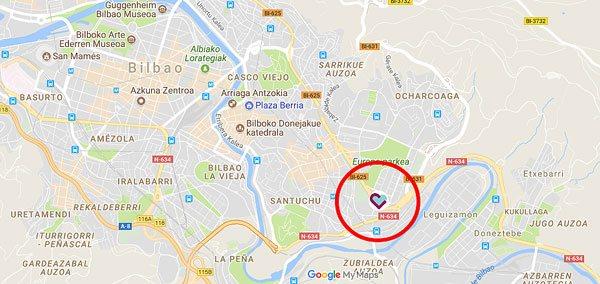 Mapa de accesos a la Residencia geriátrica Txurdinagabarri de Bilbao