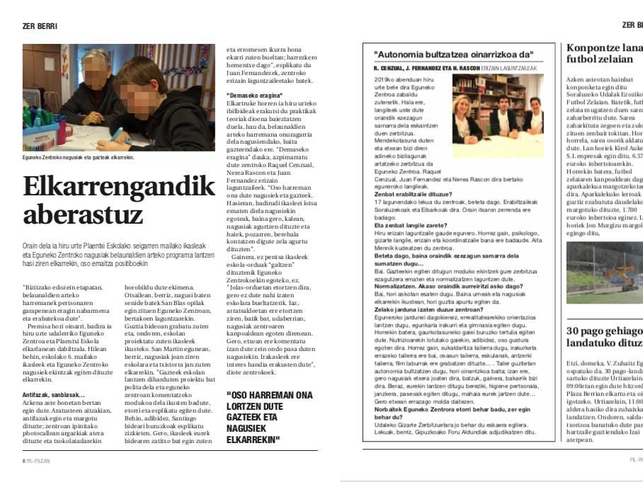 Artículo sobre el Centro de Día de mayores de Soraluze